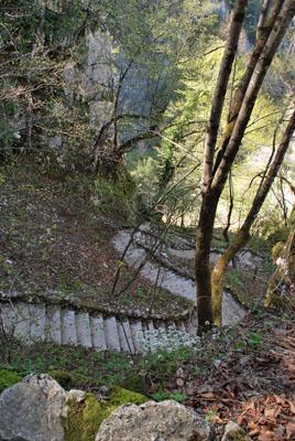 Laiptai staciai nuo kalno